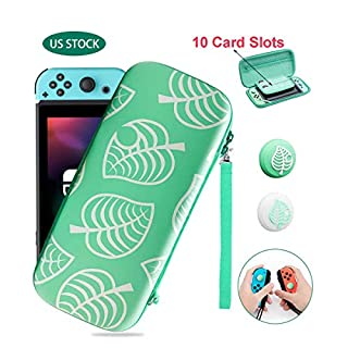 Carry Case for Nintendo Switch, Shockproof Hard Shell Protective Cover Portable Travel Bag, New Leaf Crossing Carrying Case for Nintendo Switch with 10 Game Card Slots and Inner Pocket