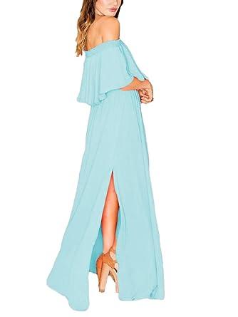 O.D.W.Chiffon Long Boho Bridesmaid Dresses Off-Shoulder Wedding Prom Gowns UK26