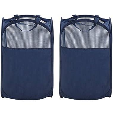 StorageManiac Mesh Pop-Up Laundry Hamper with Side Pocket and Reinforced Handles, 2-Pack, Dark Blue