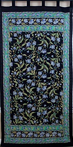 Handmade French Floral Tab Top Curtain 100 Cotton Drape Door Panel Black Blue