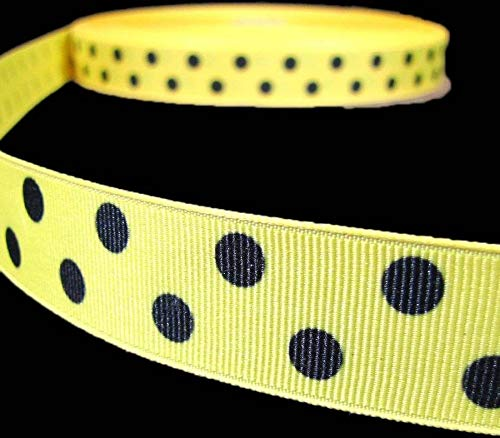 - Ribbon Art Craft Decoration 5 Yd Yellow Black Bumble Bee Polka Dot Polkadot Grosgrain Ribbon 7/8