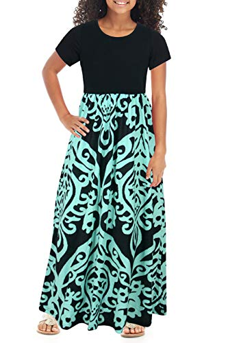 GORLYA Girl's Short Sleeve Patchwork Floral Print Loose Casual Long Maxi Dress with Pockets for 4-12 Years Kids (GOR1012, 6-7Y, Blue Print) -