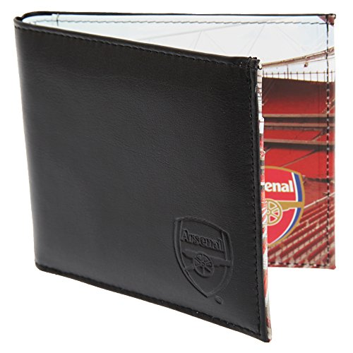 Arsenal FC Mens Official Football Stadium Leather Wallet (One Size) (Black)