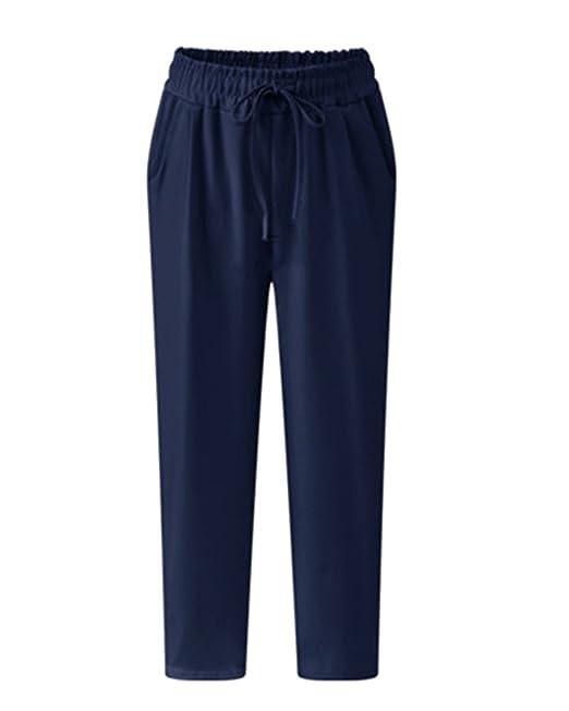 mejor selección a93fb 48ff1 AnyuA Tallas Grandes Mujer Pantalones Harem Ligeros con Cintura Elástica