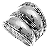 Sterling Silver Women's Large Bali New Ring Wholesale 925 Band 22mm Sizes 5-12