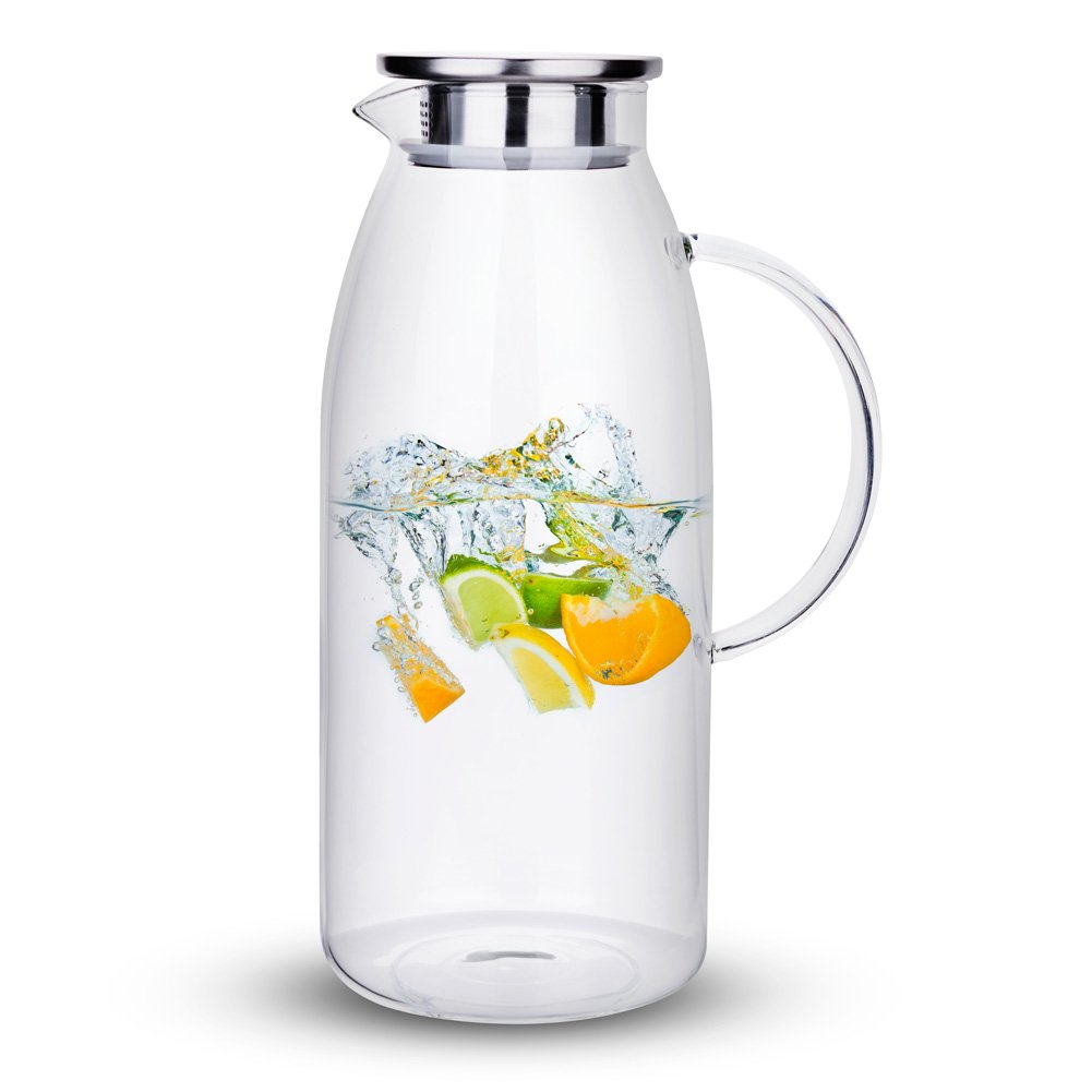 Purefold 100 Ounces Large Glass Pitcher with Lid, Hot/Cold Water Pitcher with Handle, Juice and Iced Tea Beverage Carafe