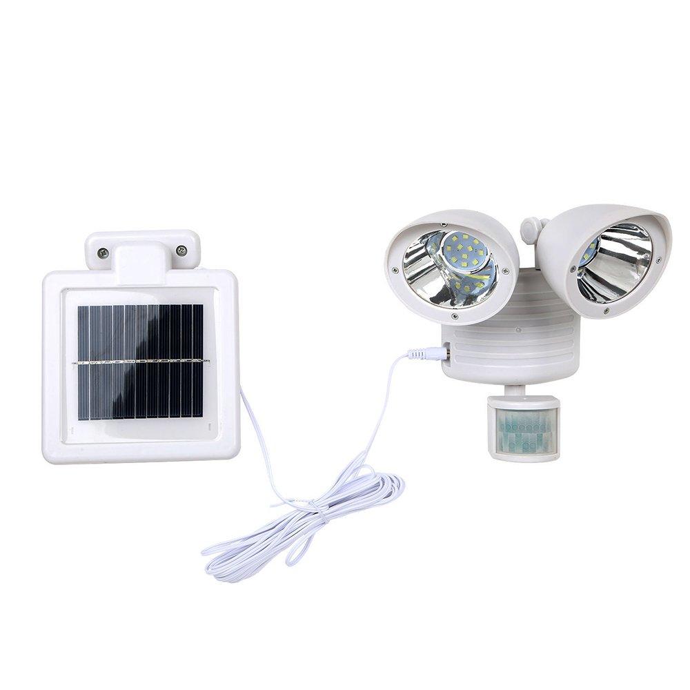 Solar Spotlight Outdoor,AVEKI 22LED Solar Motion Sensor Light Adjustable Dual Head Solar Security Light Waterproof Outdoor Lamp for Garden Patio Path Wall Garage (White)
