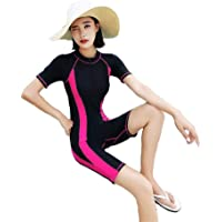 Beachkini Traje de baño de Manga Corta Deportivo para Mujer Medias de Gran tamaño Traje de baño Bañador de Pierna Media