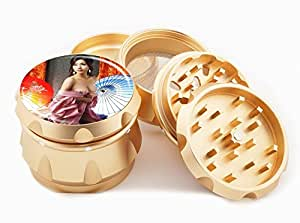 "Asian Girl Design Premium Grade Aluminum Tobacco,Herb Grinder -4Pcs Large (2.5"" Gold) # GLD-G121114-0025"