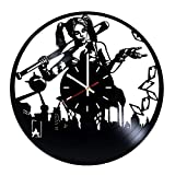 Harley Quinn DC Vinyl Record Wall Clock - Living Room or Nursery Room wall decor - Gift ideas for teens, friends - Comics Unique Art Design