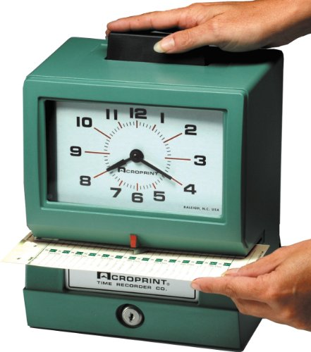 Acroprint BP125-6NR4 Heavy Duty Manual Battery Operated Time Recorder for Month, Date, Hour (1-12) and Minutes Time Clock by Acroprint (Image #1)