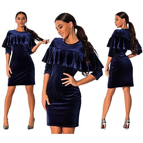 Velvet Plain Sleeve Ruffles Allonly 4 3 Gold Women Blue Round Slim Fashion Dress Royal Tube Neck qttvzAw