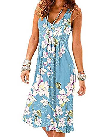 361488943f MIDOSOO Womens Casual Sleeveless Plain Pleated Tank Vest Dresses