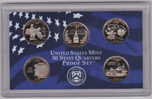 2000 U.S. Proof State Quarters Set has all five of the U.S. State Proof clad Quarters issued for the Year 2000.