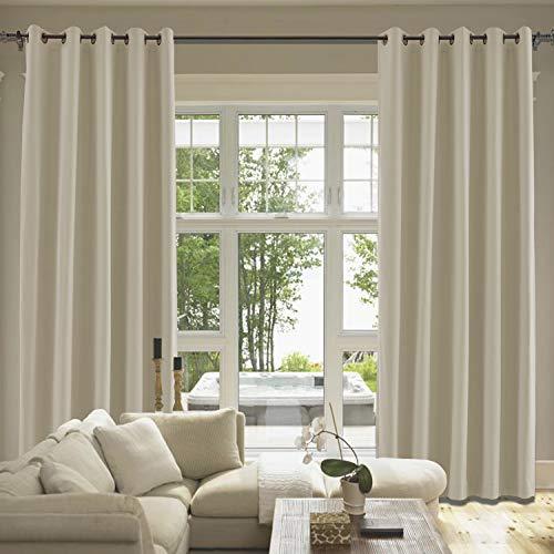 cololeaf Flax Cotton Blend Curtains Grommet, Room Darkening Noise Reducing Window Treatment Panel for Living Room Bedroom Kidroom Studio Patio Door, 84