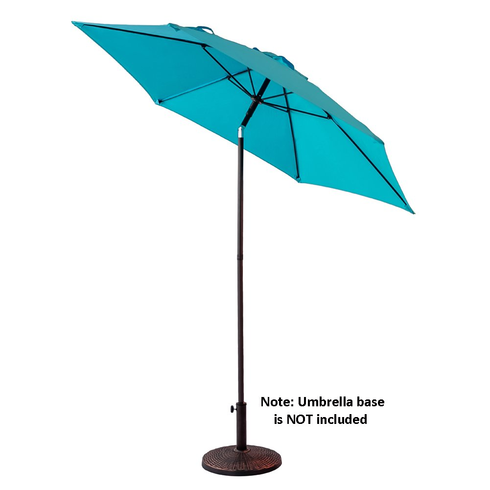 FLAME SHADE 7 6 Round Outdoor Patio Market Sun Umbrella Push Button Tilt Aqua Blue