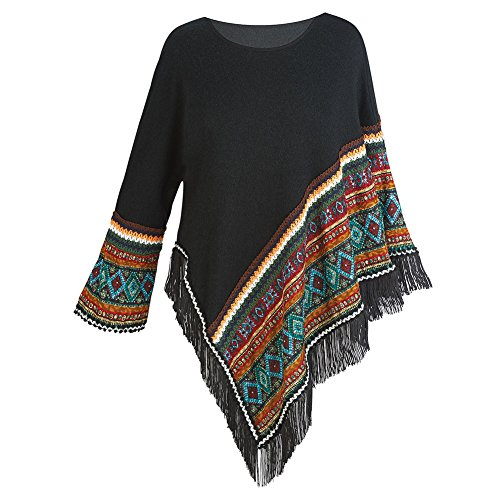 Women's Sweater Knit Poncho - Black Fringed Aztec Print Pullover Cape - Medium (Native American For Women)