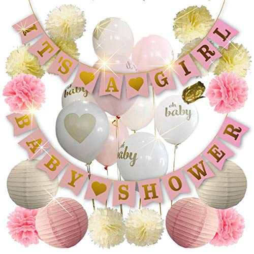 (Baby Shower Decorations For Girl - Girl Baby Shower Decorations: It's a Girl & Baby Shower Banner, Baby Girl Shower Decorations Kit with Banners, Balloons, Pom Poms and Lanterns -)