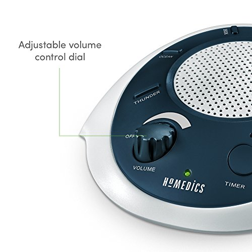 HoMedics White Noise Machine Portable Therapy for Baby & Adapter Charging Timer | Sound Blue