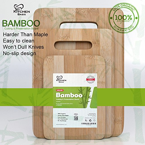Bamboo Cutting Board 3 Piece Set, Made From Premium 100% Organic And Safe Antibacterial Wood, Newest Non-Stick Design, FDA Approved And BPA Free Kitchen Chopper Reversible Stand. Kitchen Basix by Kitchen Basix (Image #5)'