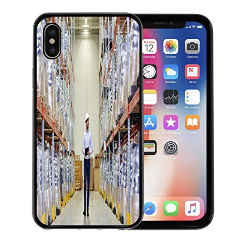 - Emvency Phone Case for Apple iPhone Xs Case/iPhone X Case,Wholesale Logistic Export and People Happy Man Manager Clipboard Soft Rubber Border Decorative, Black