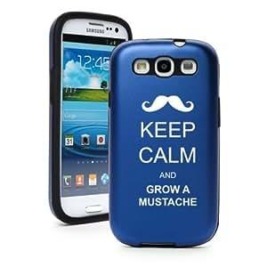 Blue Samsung Galaxy S III S3 Aluminum & Silicone Hard Case SK107 Keep Calm and Grow a Mustache