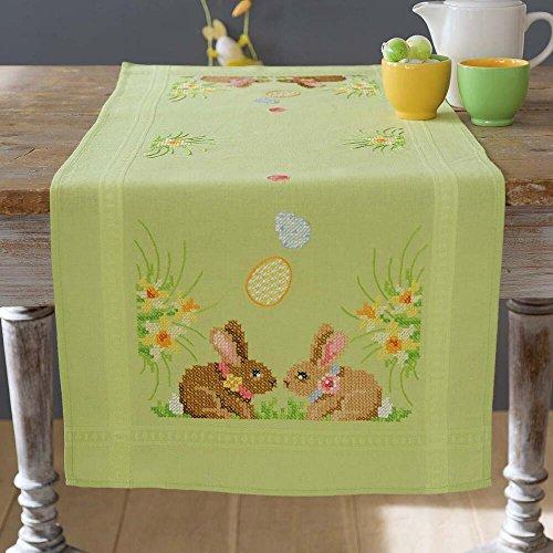 Vervaco Easter Bunnies Table Runner Stamped Cross-Stitch Kit