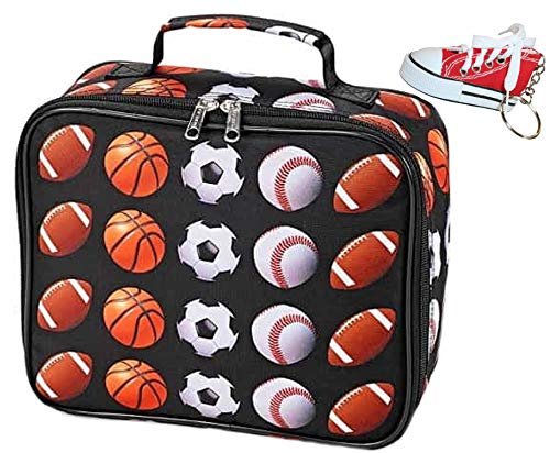 Top Trenz Inc All Sport Insulated Lunch Tote and Keychain Bundle Set Football, Basketball, Soccer, Baseball ()