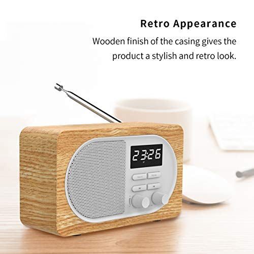 Retro FM Radio Bluetooth Speaker,Portable Radio with Loud Speak,Excellent Reception 24H Time Display Digital Radio,Strong Bass,Bluetooth 5.0 Connection,Alarm Clock,TF Card&AUX