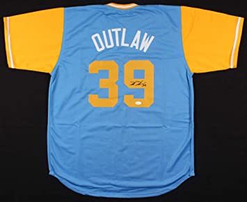 5d579a5e234 ... real kevinquotoutlawquot kiermaier signed players weekend tampa bay rays  jersey 6e230 b7c36