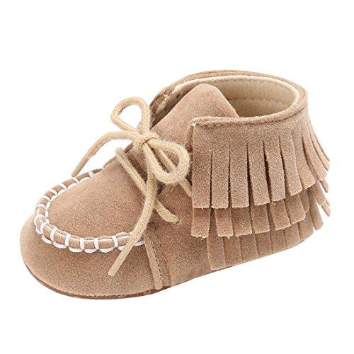 Sharemen Tassel Soft Sole Shoes Boys Girls Anti-Slip Crib Prewalker (0-6 Months, Brown)