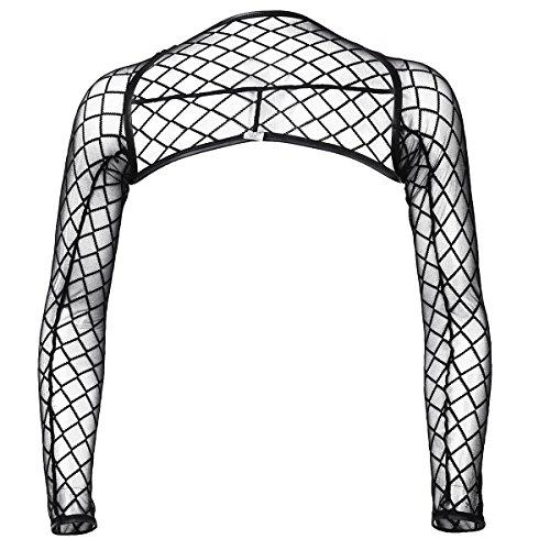 CHICTRY Mens Sexy Mesh Hollow Arm Sleeves Shrug Clubwear Costume Black (Fishnet Sleeves)