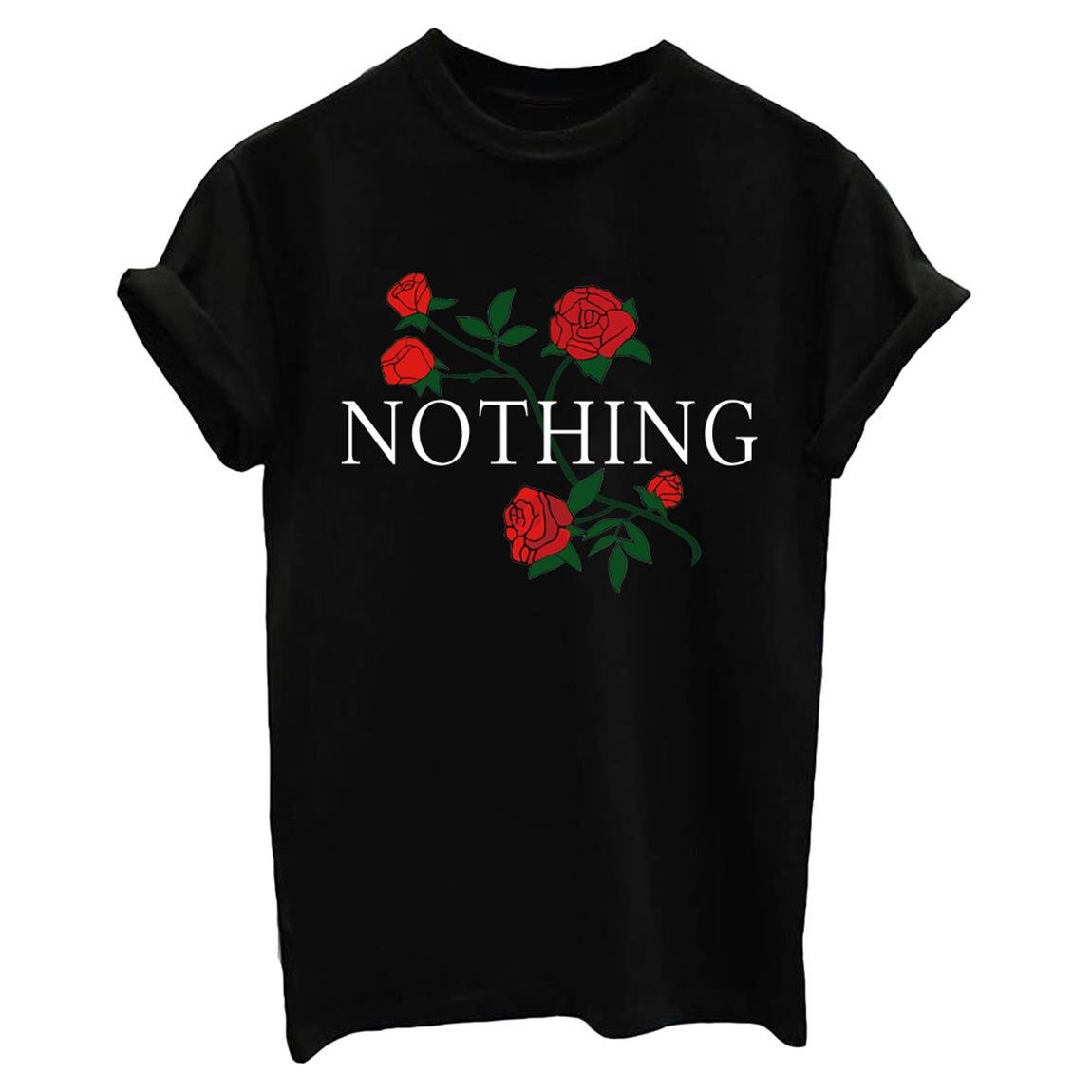 237a13b6fedfd Amazon.com  BLACKMYTH Women Summer NOTHING Rose Print Short Sleeve Top Tee  Graphic Cute T-shirt  Clothing