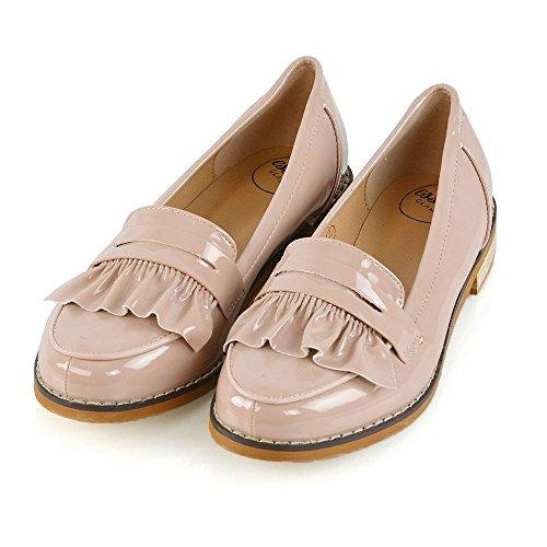 Essex Glam Kvinna Platta Öre Loafers Syntetiska Läder Mocassin Skor Nude Patent