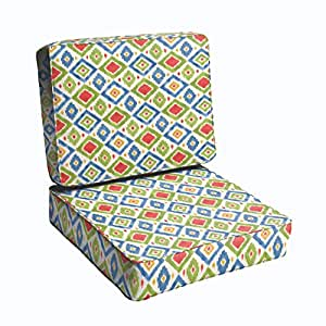 Mozaic Co. Green/ Red Diamonds 23.5-inch Indoor/ Outdoor Corded Chair Cushion Set