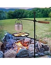 Lägereld svängbar grill grillrost, 360° justerbart grillgaller med markspett vev, grillgalgar galler för eldskål camping picknick utomhus BBQ