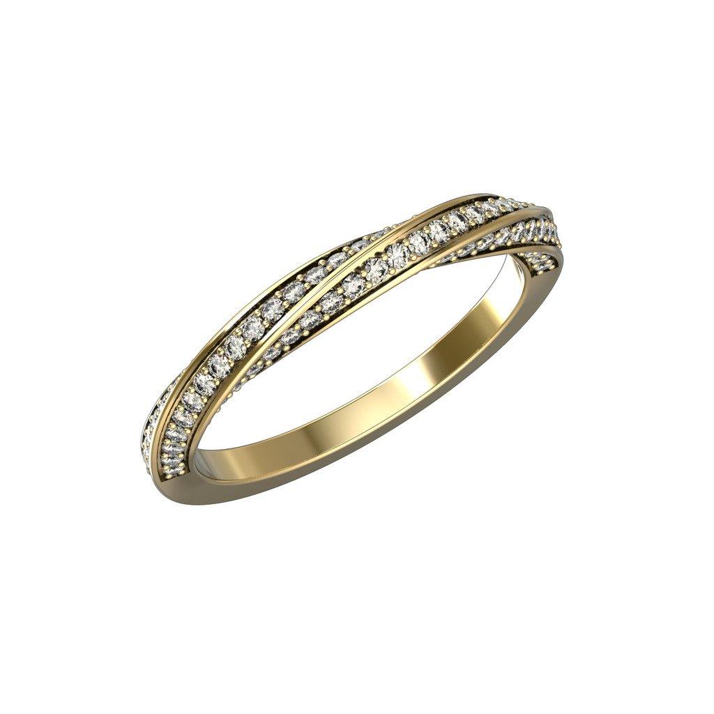 14K Yellow & White Gold Twisted Swirl Band Ring 0.5 Carat Diamond Anniversary Ring EGL / GIA