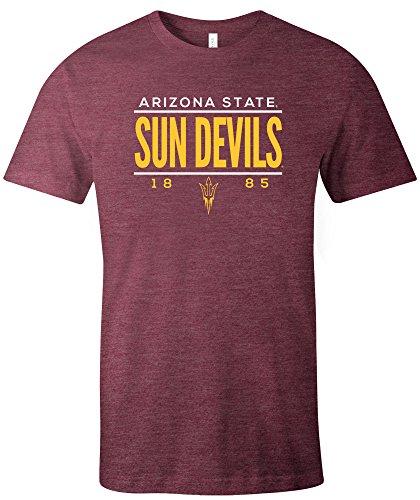 NCAA Arizona State Sun Devils Tradition Short Sleeve Tri-Blend T-Shirt, Maroon,XX-Large - One Sleeve Short T-shirt Good