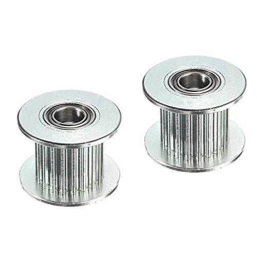 BALITENSEN 2Pcs Toothed GT2 Idler Pulley 20 Teeth Bore 5mm Perlin Passive Pulley 20 Geer 2GT Idle Pulley For 9mm/10mm Wide Belt CNC 3D Printer