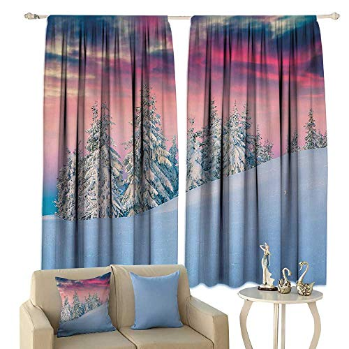 Thermal Insulated Drapes for Kitchen/Bedroom Winter Idyllic Scenery in Snow Covered Serene Mountains Pine Tree Forest Majestic Sky Noise Reducing Pink Blue Cream
