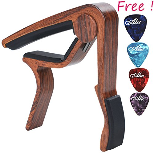 Sound Harbor Ma 12 Capo Guitar Capo For Acoustic And Electric Guitars  Zinc Alloy  Quick Change Guitar Capo   Free 4 Pick   Rosewood Color 1