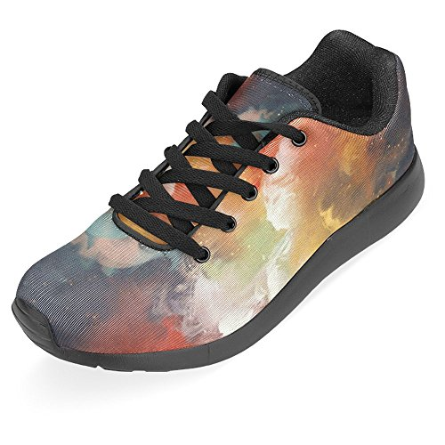 InterestPrint Womens Jogging Running Sneaker Lightweight Go Easy Walking Casual Comfort Running Shoes Man On a Boat In The Outer Space With colorful Cloud Multi 1 Ug4Kh2