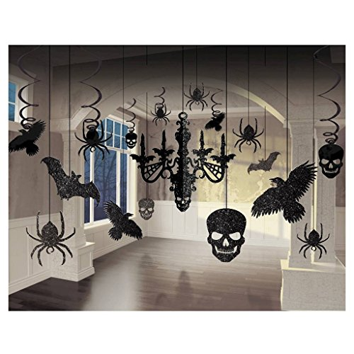 Glitter Haunted House Chandelier Halloween Trick or Treaty Party Decorating Kit, Paper, 15
