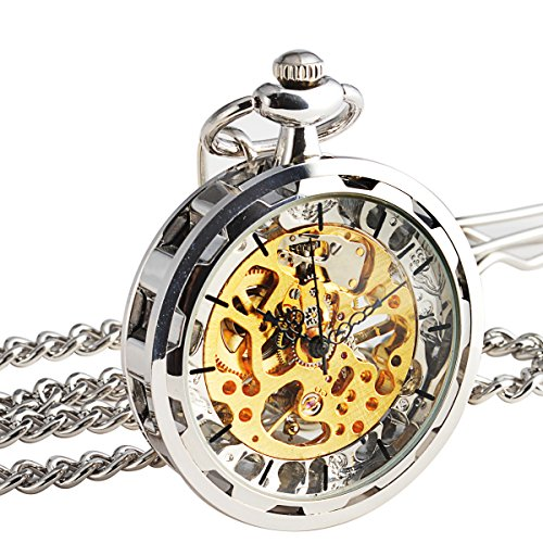 [WENSHIDA Steampunk Transparent Open Face Pocket Watch for Men Women Silver Skeleton Dial with Chain +] (Master Chief Suit For Sale)