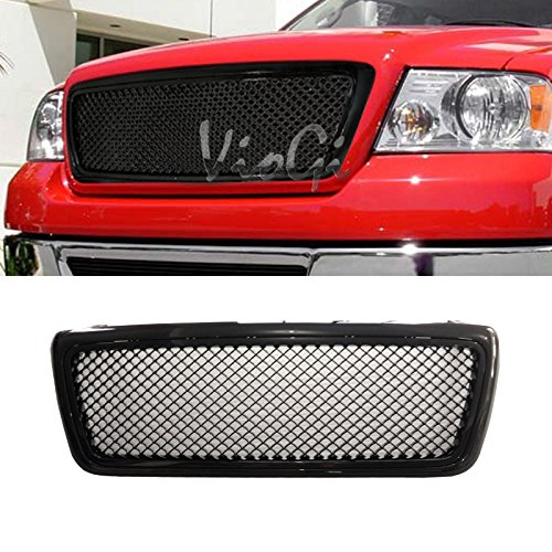 Viogi 1pc Glossy Black Strong Abs Plastic Badgeless Mesh Style Front Main Upper Grille Fit 04 08 Ford F150 Except Heritage