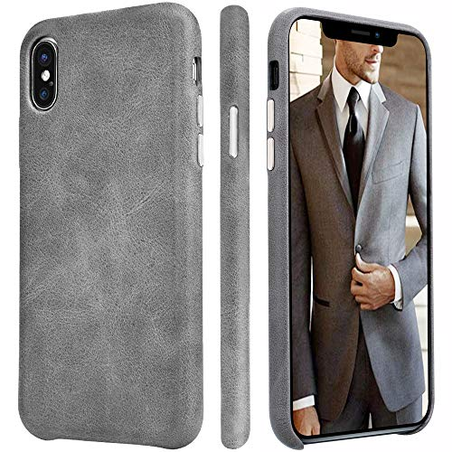 iPhone Xs Max Leather Case TOOVREN iPhone Xs Max Genuine Leather Cover Case Protective Ultra Thin Vintage Anti-Slip Grip Shell Hard Back Cover for Apple iPhone Xs Max 6.5 Inch (2018) Grey