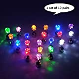 esonstyle 10 Pairs Bright Stylish Fashion LED Earrings Glowing Light Up Earrings Diamond Crown Ear Drop Pendant Stud Stainless Multicolor