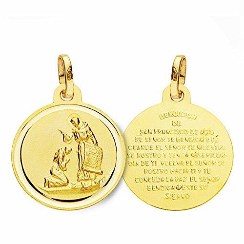 Médaille pendentif 18k 16mm or bénédiction de San Francisco. lunette lisse [AA2680]