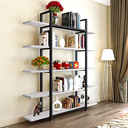 Tribesigns 5-Tier Bookshelf, Vintage Industrial Style Bookcase 70 H x 9 W x 47 L, White