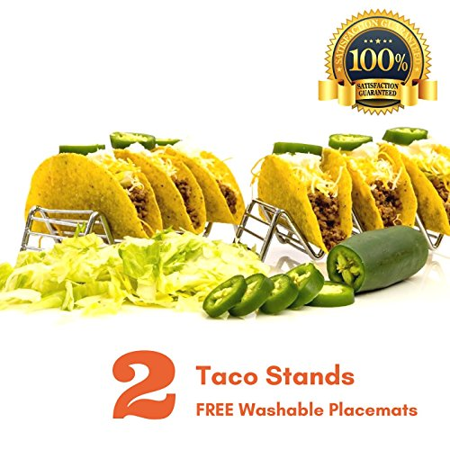 SteelBee Taco Holder Set of 02, FREE BONUS 2 PACK Washable Placemats, Stainless Steel Tacos Rack | Dishwasher Safe, BONUS: 01 EBOOK (15 Tasty Recipes) | Gif-Ready Packaging